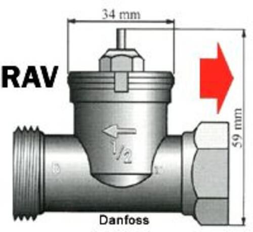 Adaptor til Danfoss RAV ventil fra M30x1,5 Messing